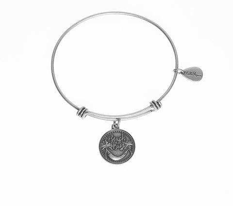 Beach Bum Expandable Bangle Charm Bracelet in Silver - BellaRyann