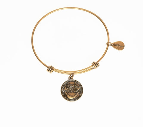 Beach Bum Expandable Bangle Charm Bracelet in Gold - BellaRyann