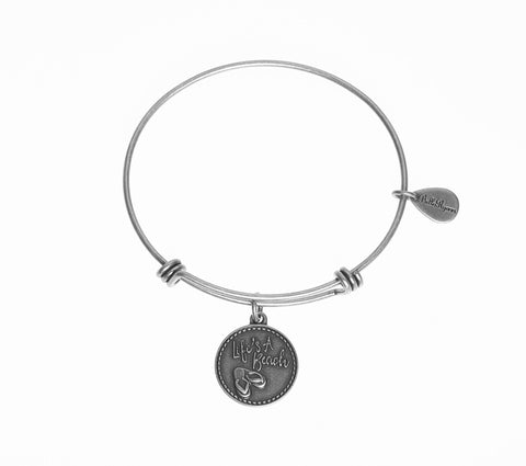 Life's A Beach Expandable Bangle Charm Bracelet in Silver - BellaRyann