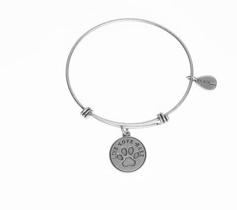 Live, Love, Bark With Dog Paw Print Expandable Bangle Charm Bracelet in Silver