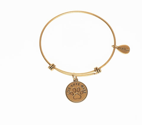 Live, Love, Bark With Dog Paw Print Expandable Bangle Charm Bracelet in Gold