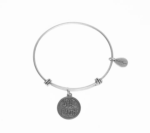Salt of The Earth Expandable Bangle Charm Bracelet in Silver