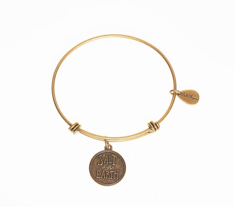 Salt of The Earth Expandable Bangle Charm Bracelet in Gold