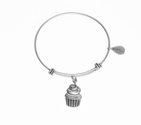 Cupcake Expandable Bangle Charm Bracelet in Silver - BellaRyann