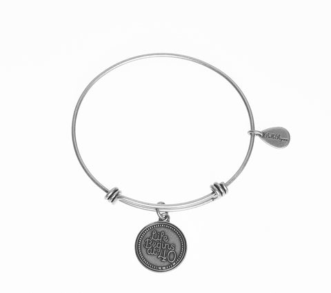 Life Begins at 40 Expandable Bangle Charm Bracelet in Silver - BellaRyann