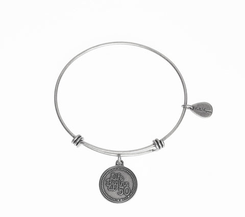 Life Begins at 50 Expandable Bangle Charm Bracelet in Silver - BellaRyann