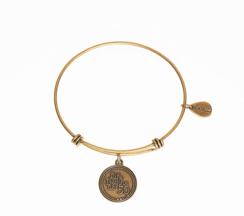 Life Begins at 50 Expandable Bangle Charm Bracelet in Gold - BellaRyann
