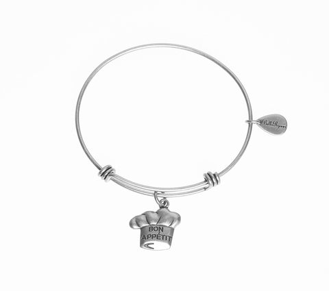 Bon Appetit Expandable Bangle Charm Bracelet in Silver - BellaRyann