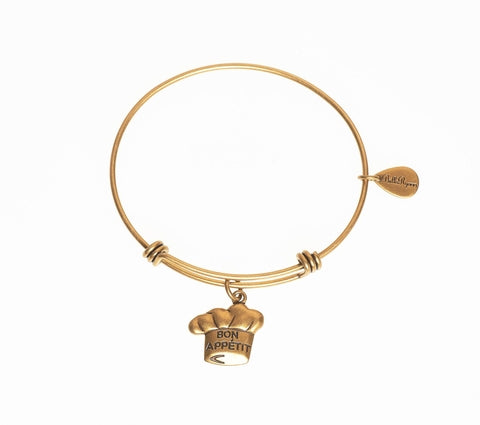 Bon Appetit Expandable Bangle Charm Bracelet in Gold - BellaRyann