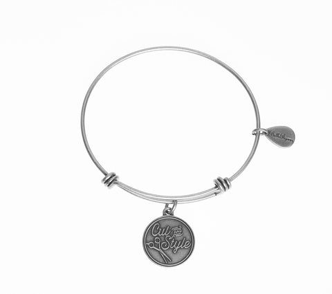 Cut And Style With Scissors Expandable Bangle Charm Bracelet in Silver - BellaRyann