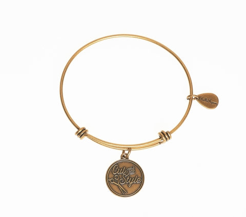 Cut And Style With Scissors Expandable Bangle Charm Bracelet in Gold - BellaRyann