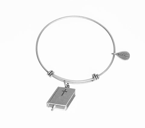 Holy Bible Expandable Bangle Charm Bracelet in Silver - BellaRyann
