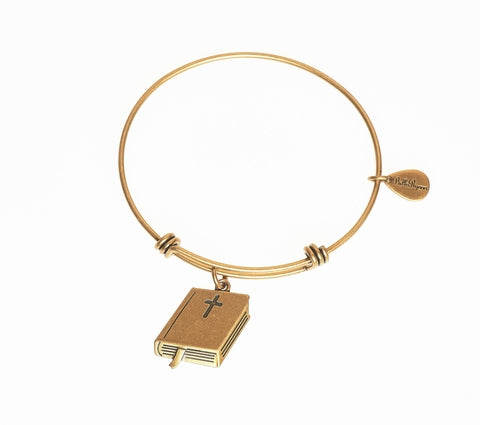 Holy Bible Expandable Bangle Charm Bracelet in Gold - BellaRyann