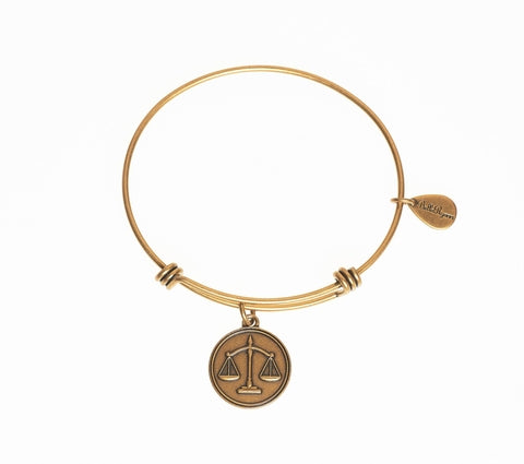 Scales of Justice Expandable Bangle Charm Bracelet in Gold - BellaRyann