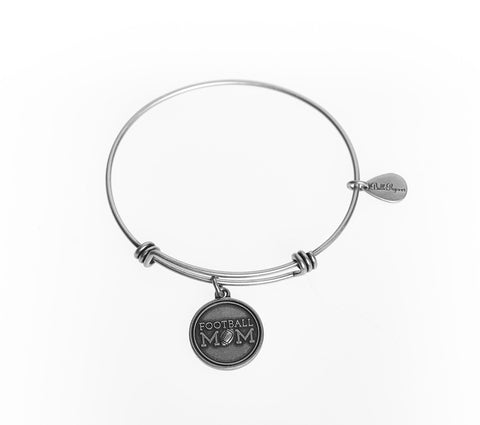 Football Mom Expandable Bangle Charm Bracelet in Silver - BellaRyann
