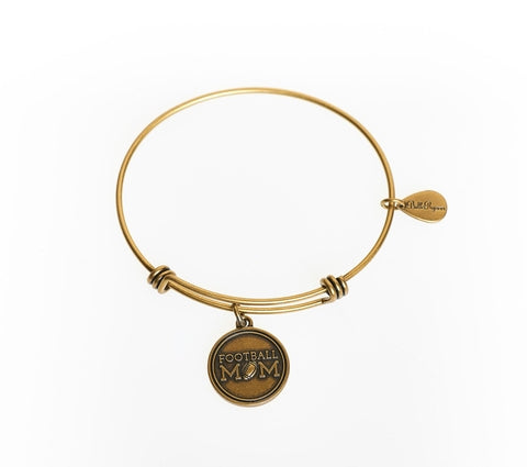 Football Mom Expandable Bangle Charm Bracelet in Gold - BellaRyann