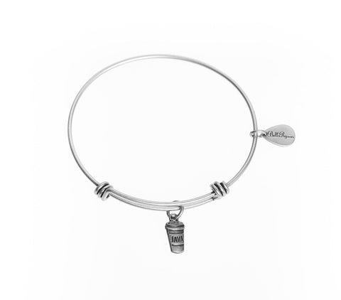 Java/Coffee Expandable Bangle Charm Bracelet in Silver - BellaRyann
