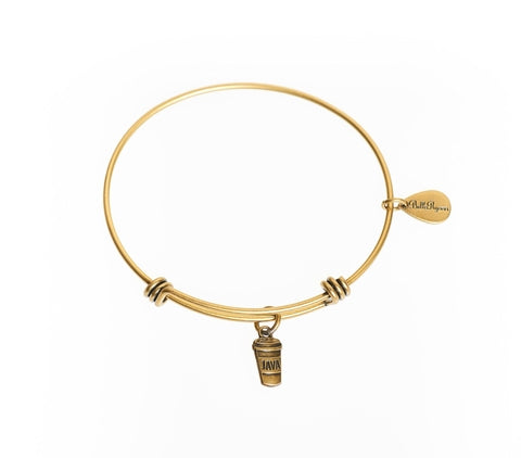 Java/Coffee Expandable Bangle Charm Bracelet in Gold - BellaRyann