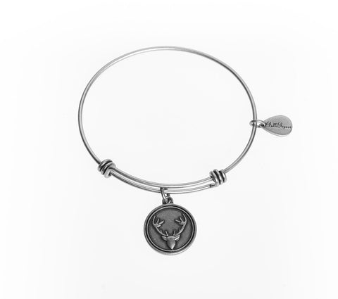 Preppy Deer Expandable Bangle Charm Bracelet in Silver - BellaRyann
