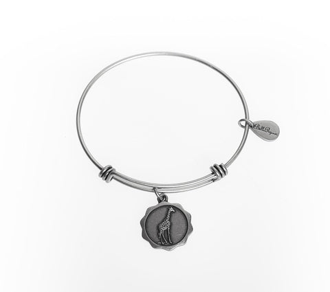Giraffe Expandable Bangle Charm Bracelet in Silver - BellaRyann