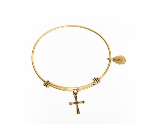 Cross 2 Expandable Bangle Charm Bracelet in Gold - BellaRyann