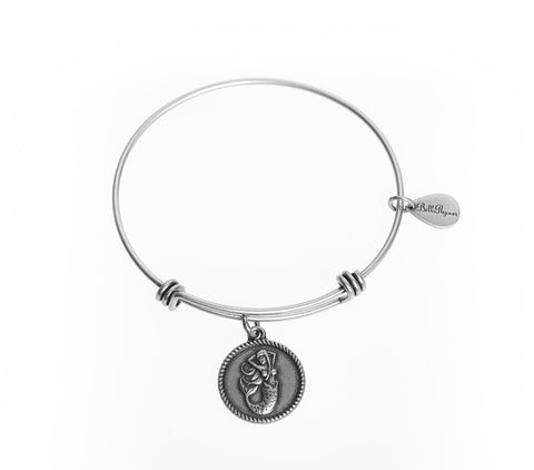 Mermaid Expandable Bangle Charm Bracelet in Silver