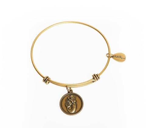 Mermaid Expandable Bangle Charm Bracelet in Gold