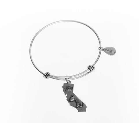 California Expandable Bangle Charm Bracelet in Silver - BellaRyann