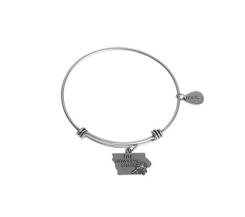 Iowa Expandable Bangle Charm Bracelet in Silver - BellaRyann
