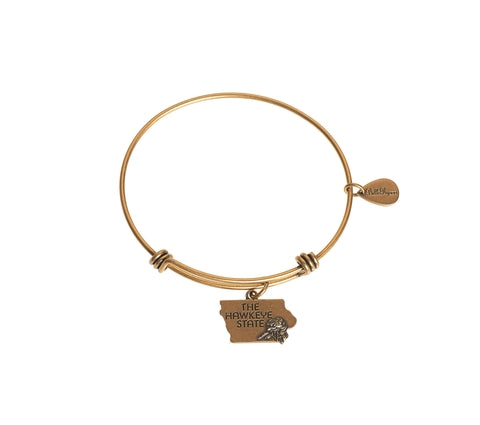 Iowa Expandable Bangle Charm Bracelet in Gold - BellaRyann