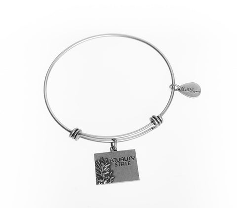Wyoming Expandable Bangle Charm Bracelet in Silver - BellaRyann