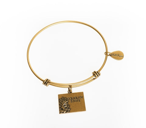 Wyoming Expandable Bangle Charm Bracelet in Gold - BellaRyann