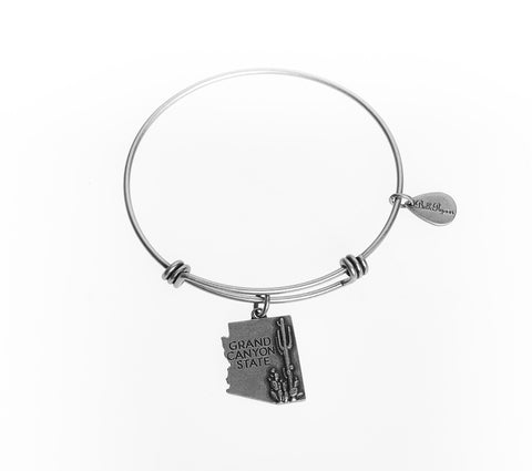 Arizona Expandable Bangle Charm Bracelet in Silver - BellaRyann
