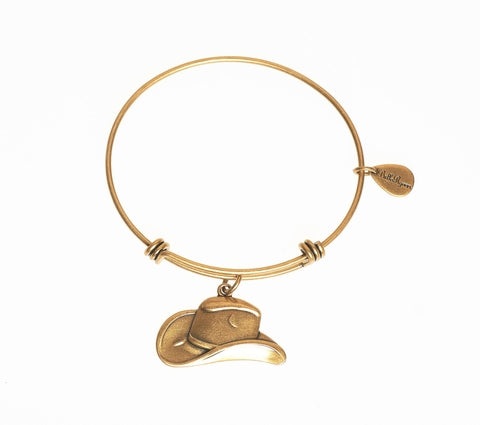 Cowgirl Hat Expandable Bangle Charm Bracelet in Gold - BellaRyann