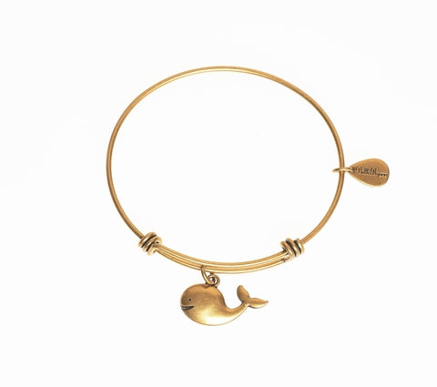 Whale Expandable Bangle Charm Bracelet in Gold - BellaRyann