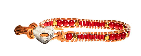 Lyndee - Red Beads with Tan Leather - Single Wrap Bracelet