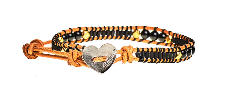 Lucy - Black Beads with Tan Leather - Single Wrap Bracelet