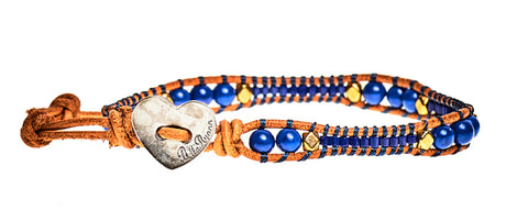 Cathy - Royal Blue Beads with Tan Leather - Single Wrap Bracelet - BellaRyann