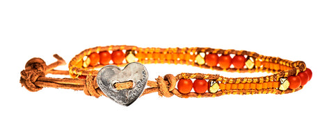 Rachel - Orange Beads with Tan Leather - Single Wrap Bracelet - BellaRyann
