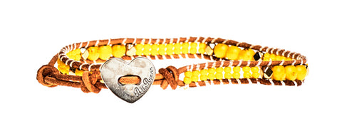 Megan - Yellow Beads with Tan Leather - Single Wrap Bracelet - BellaRyann