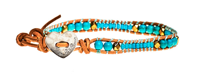 Emma - Turquoise Beads with Tan Leather - Single Wrap Bracelet - BellaRyann