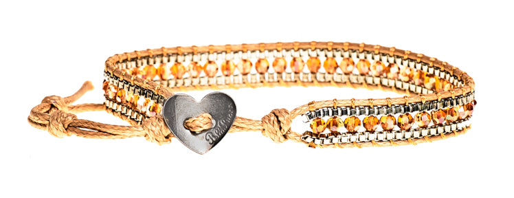 Lindsey - Amber Crystal & Metal Beads with Tan Cord - Single Wrap Bracelet - BellaRyann