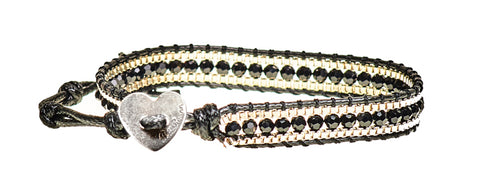 Heather - Jet Black Crystal & Metal Beads with Black Cord - Single Wrap Bracelet - BellaRyann