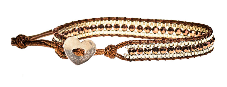 Peyton - Brown Crystal & Metal Beads with Brown Cord - Single Wrap Bracelet
