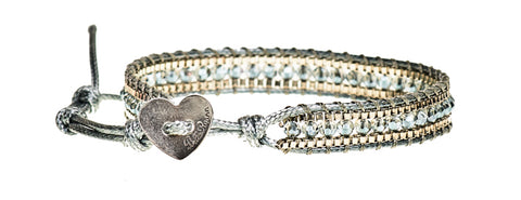 Tiffany - Silver Crystal & Metal Beads with Silver Cord - Single Wrap Bracelet