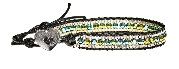 Cheryl - Green Crystal & Metal Beads with Black Cord - Single Wrap Bracelet - BellaRyann