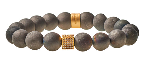 Black Druzy Agate Beaded Crown Jewel Bracelet with Gold Spacers - BellaRyann