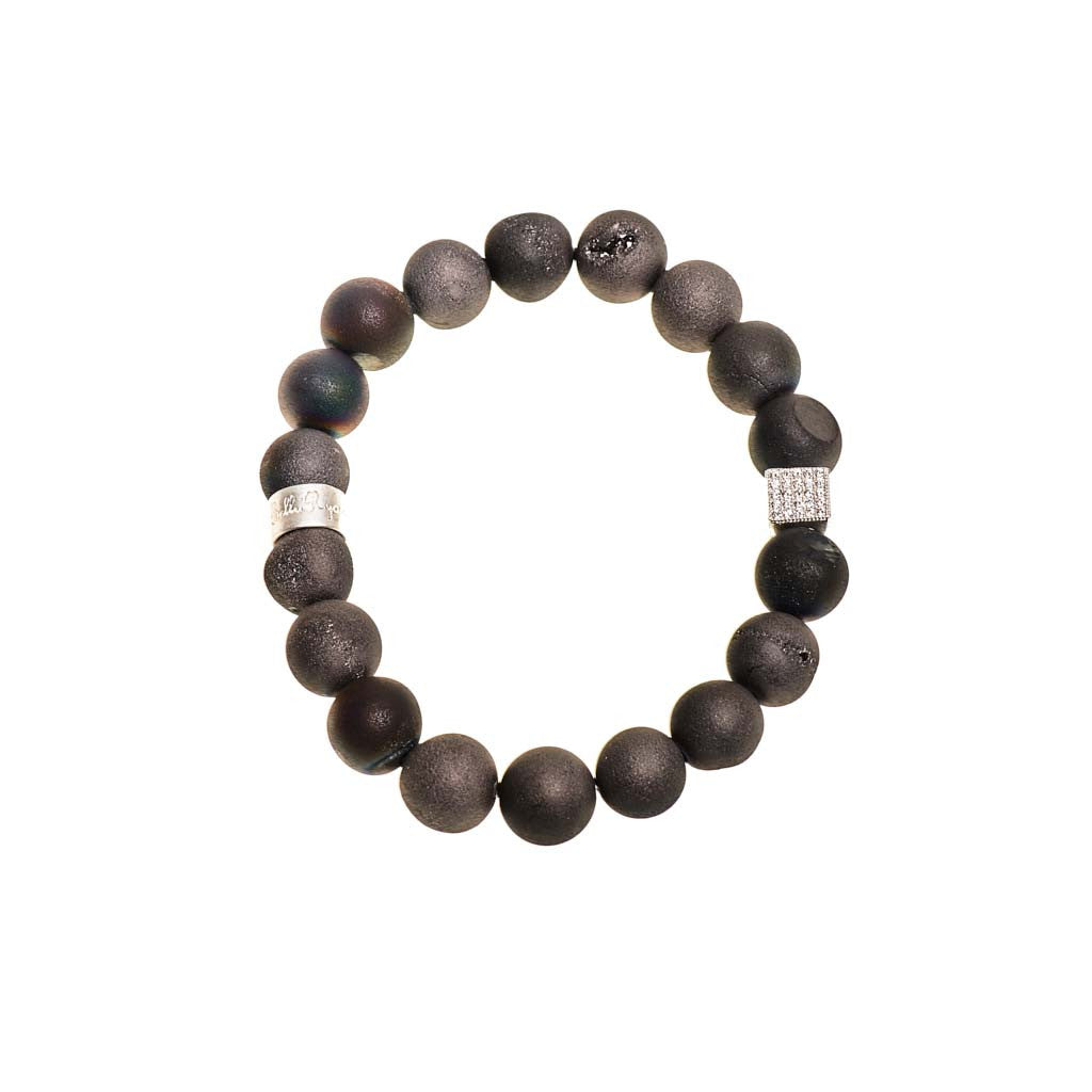 Black Druzy Agate Beaded Crown Jewel Bracelet with Silver Spacers - BellaRyann