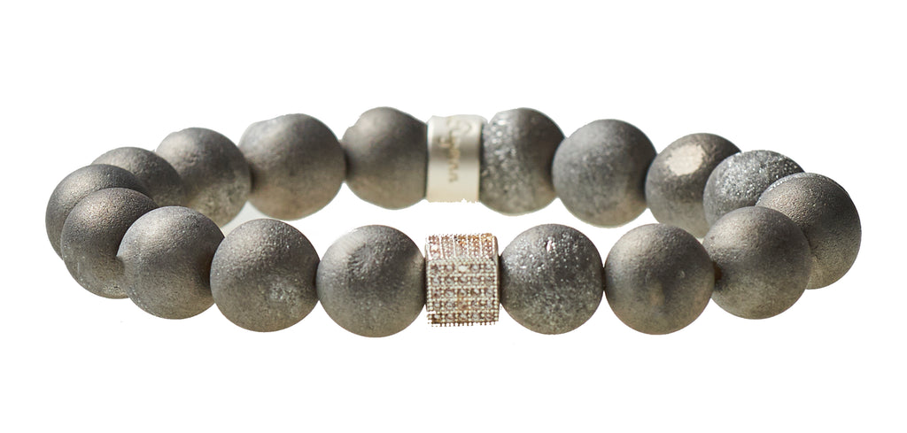 Gray Druzy Agate Beaded Crown Jewel Bracelet with Silver Spacers - BellaRyann