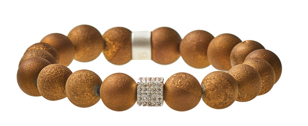 Golden Brown Druzy Agate Beaded Crown Jewel Bracelet with Silver Spacers - BellaRyann